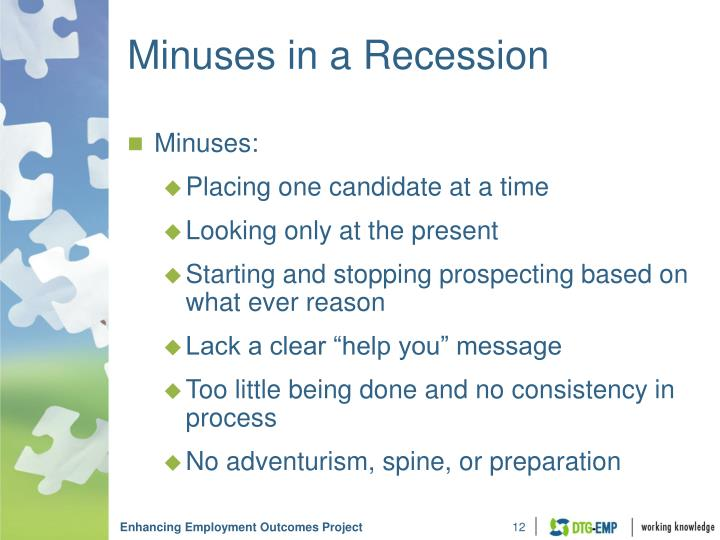 Minuses in a Recession