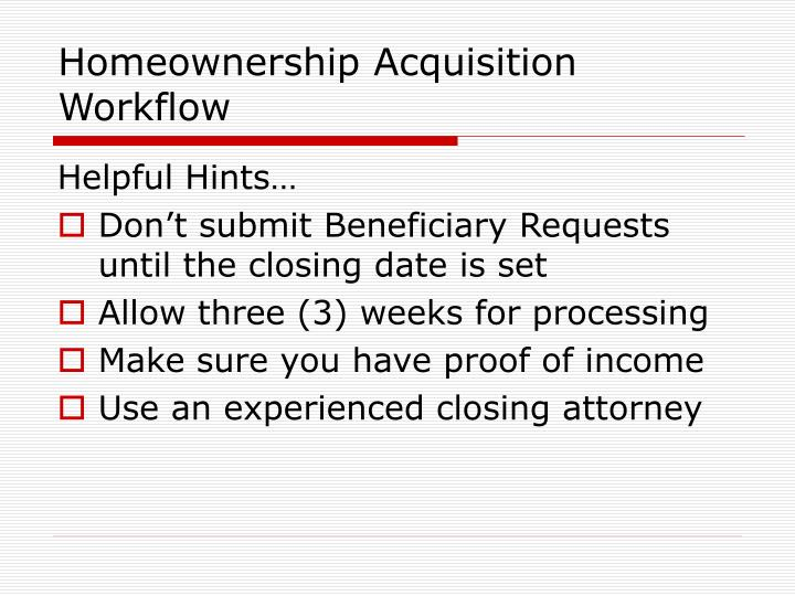 Homeownership Acquisition Workflow