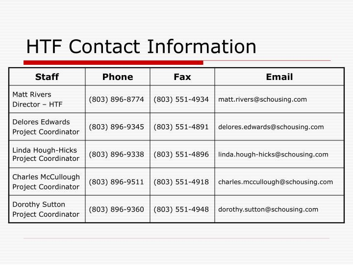 HTF Contact Information