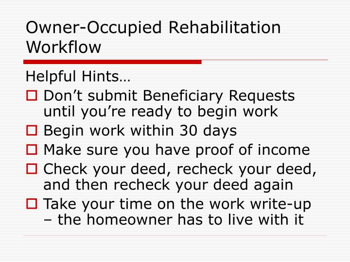 Owner-Occupied Rehabilitation Workflow