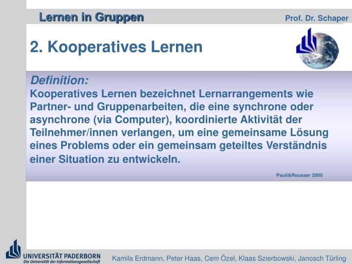 2. Kooperatives Lernen