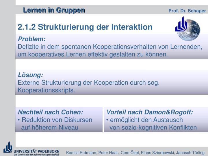 2.1.2 Strukturierung der Interaktion
