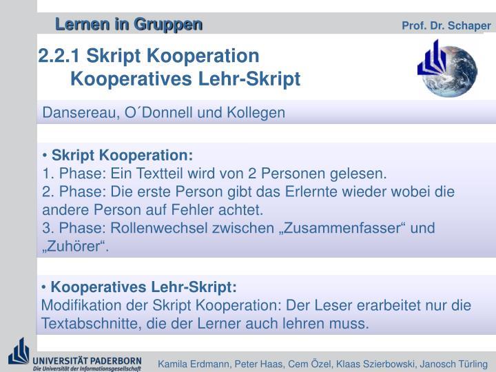 2.2.1 Skript Kooperation