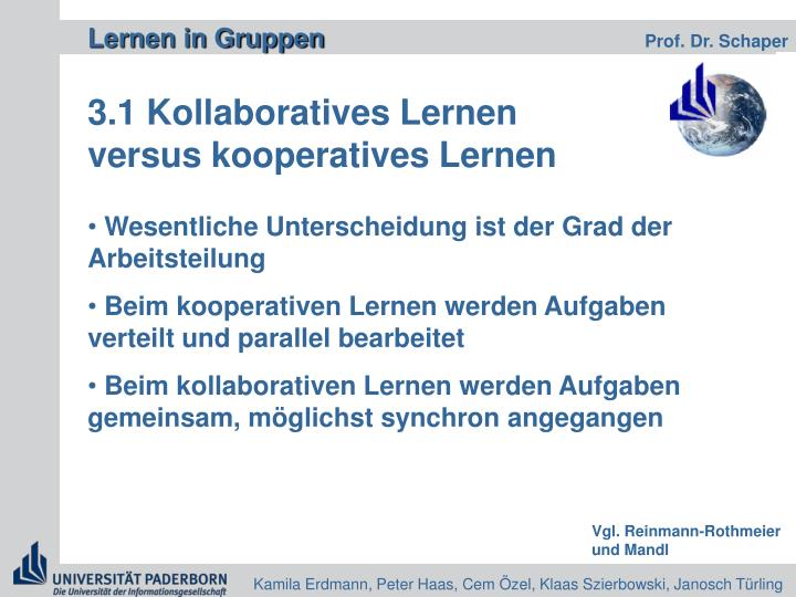 3.1 Kollaboratives Lernen versus kooperatives Lernen