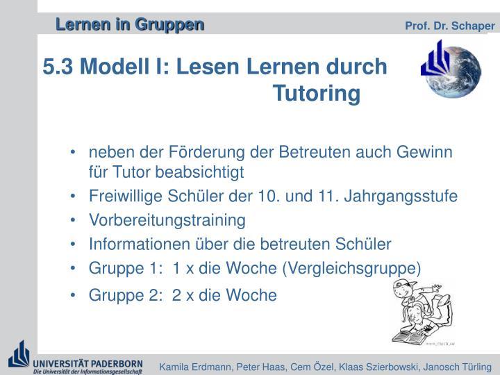 5.3 Modell I: Lesen Lernen durch              Tutoring