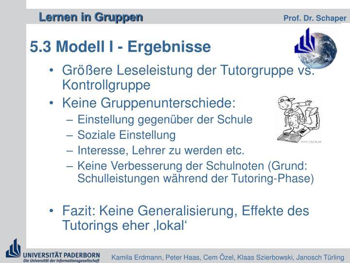 5.3 Modell I - Ergebnisse