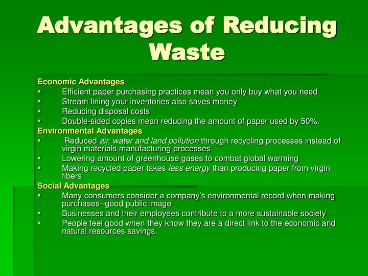 Advantages of Reducing Waste