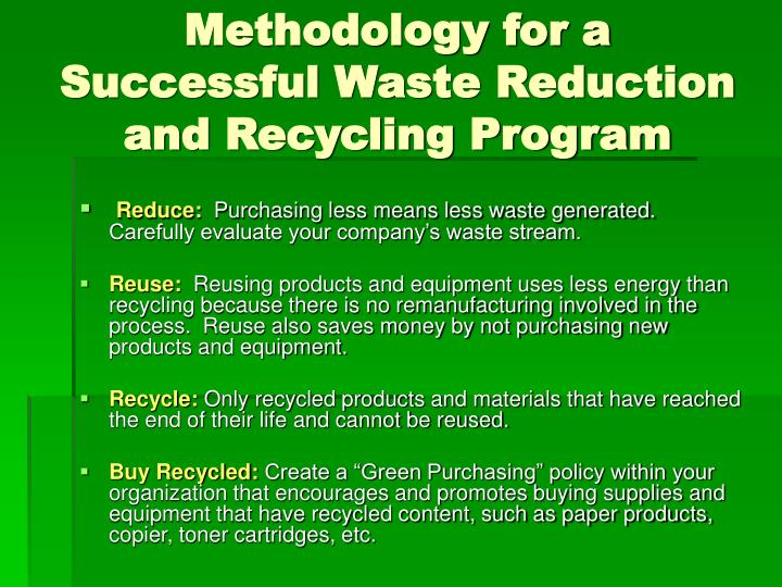 Methodology for a Successful Waste Reduction and Recycling Program
