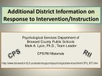 additional district information on response to intervention instruction