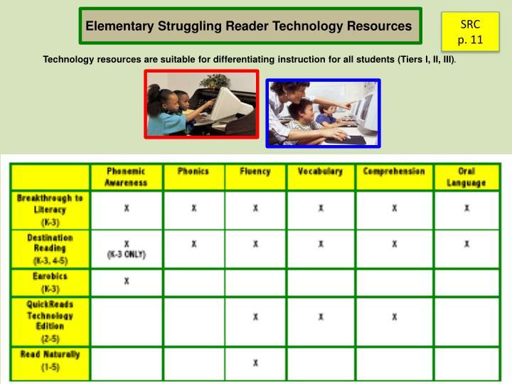 Elementary Struggling Reader Technology Resources