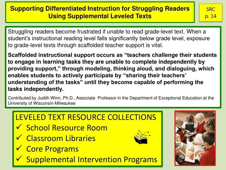 Supporting Differentiated Instruction for Struggling Readers