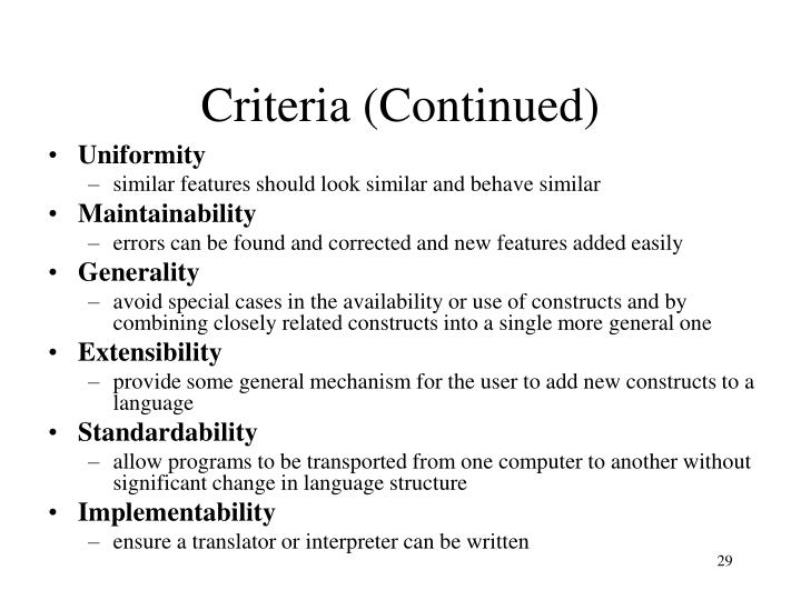 Criteria (Continued)
