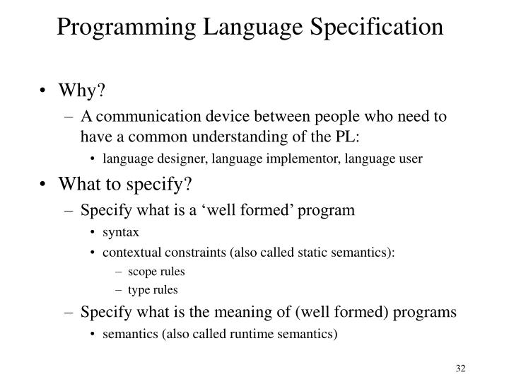 Programming Language Specification