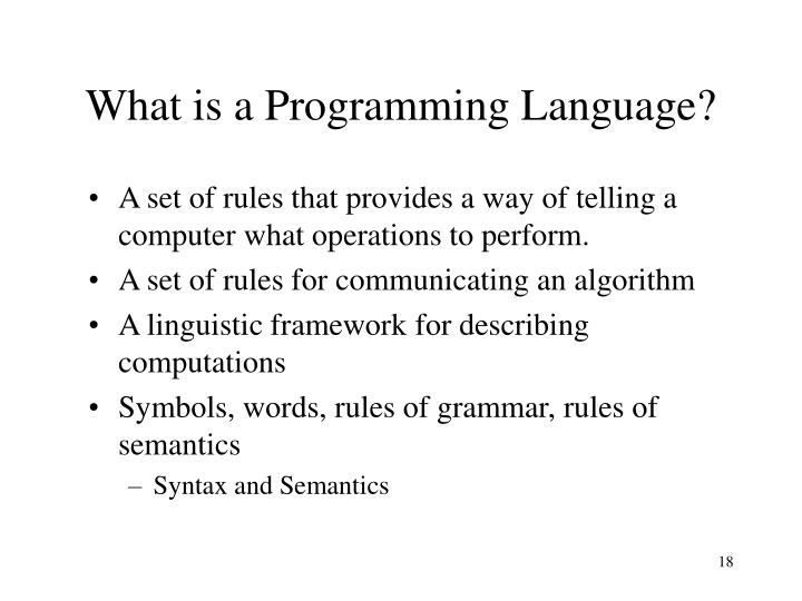 What is a Programming Language?