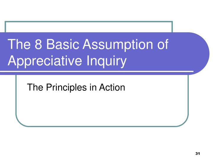 The 8 Basic Assumption of Appreciative Inquiry