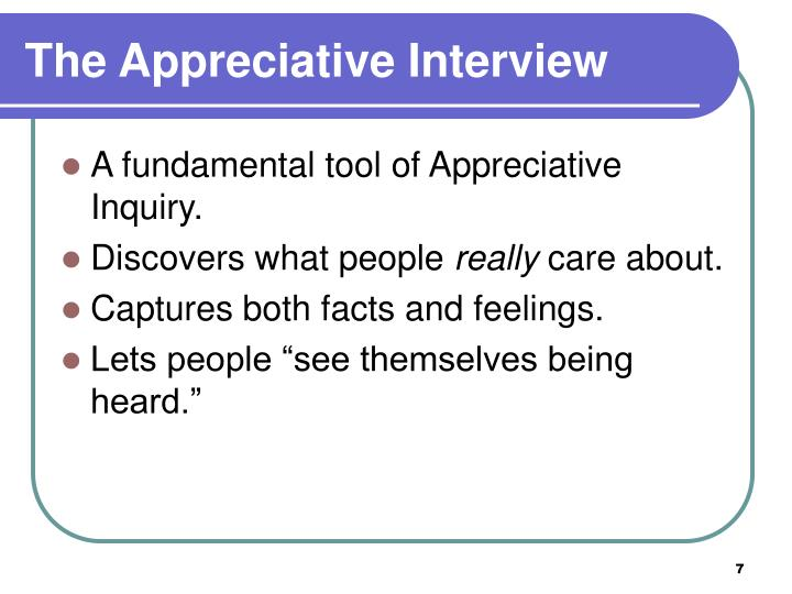 The Appreciative Interview