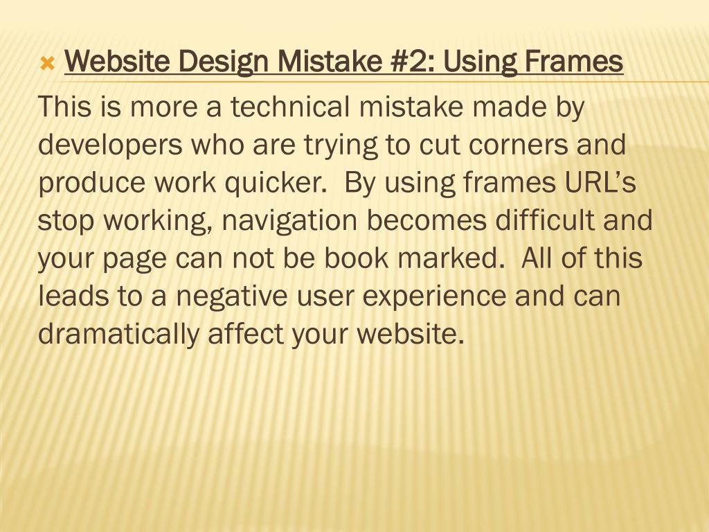 Website Design Mistake #2: Using Frames