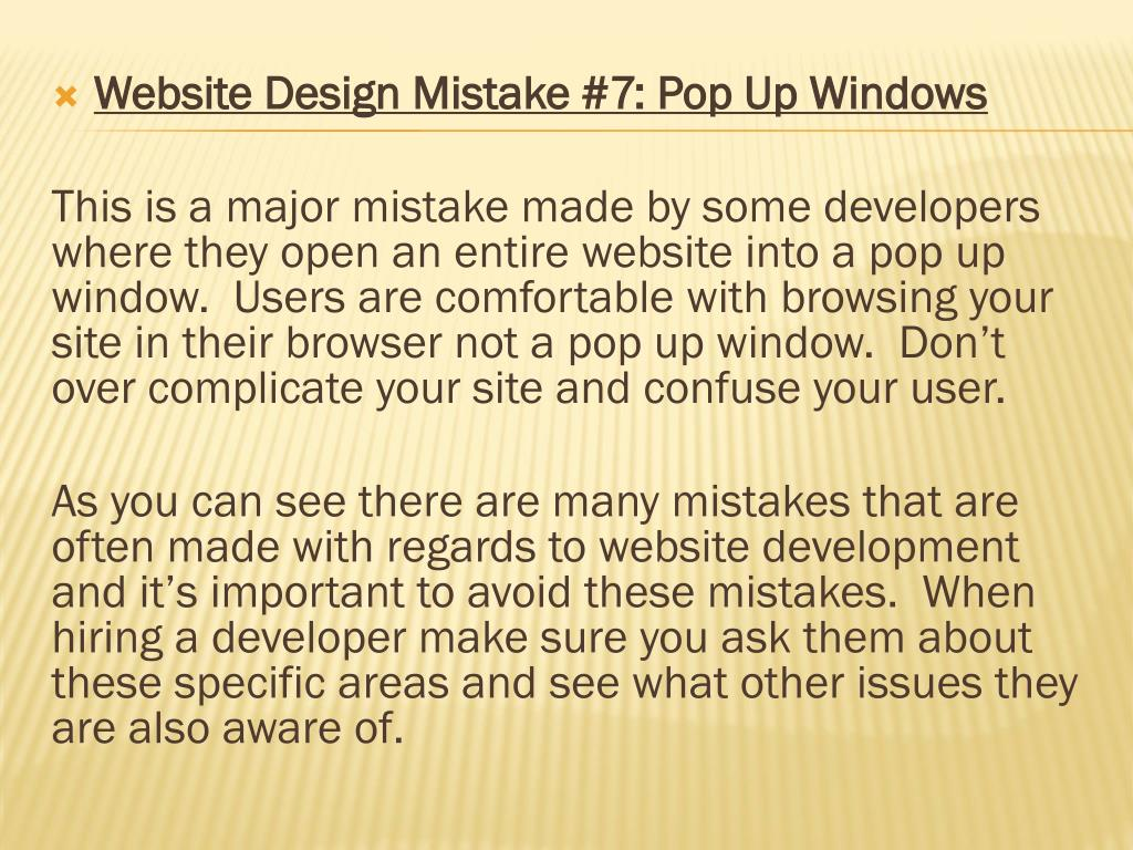 Website Design Mistake #7: Pop Up Windows