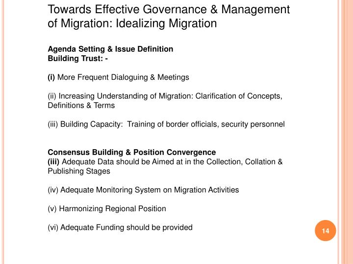 Towards Effective Governance & Management of Migration: Idealizing Migration