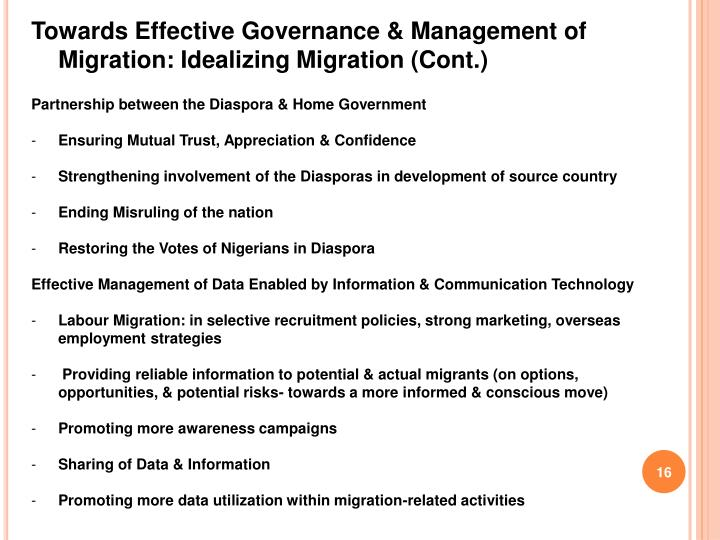Towards Effective Governance & Management of Migration: Idealizing Migration (Cont.)