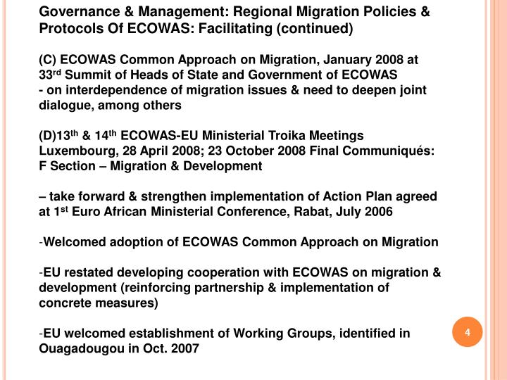 Governance & Management: Regional Migration Policies & Protocols Of ECOWAS: Facilitating (continued)