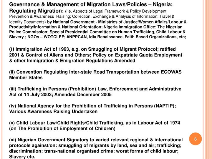 Governance & Management of Migration Laws/Policies – Nigeria: Regulating Migration:
