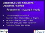 meaningful multi institutional outcomes analysis