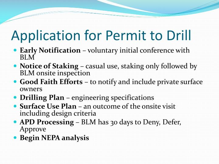 Application for Permit to Drill