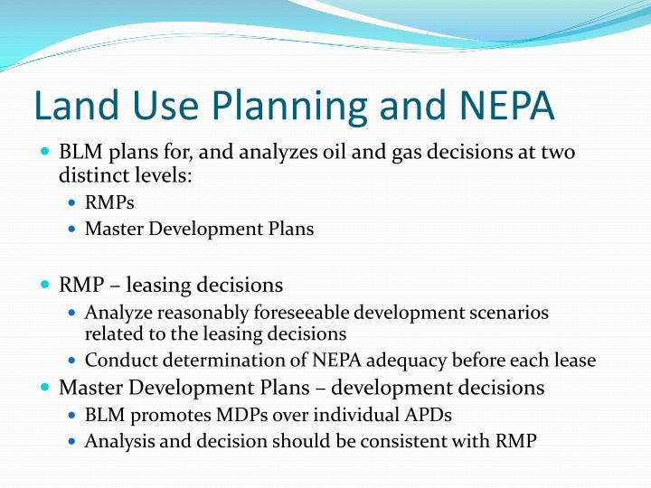 Land use planning and nepa