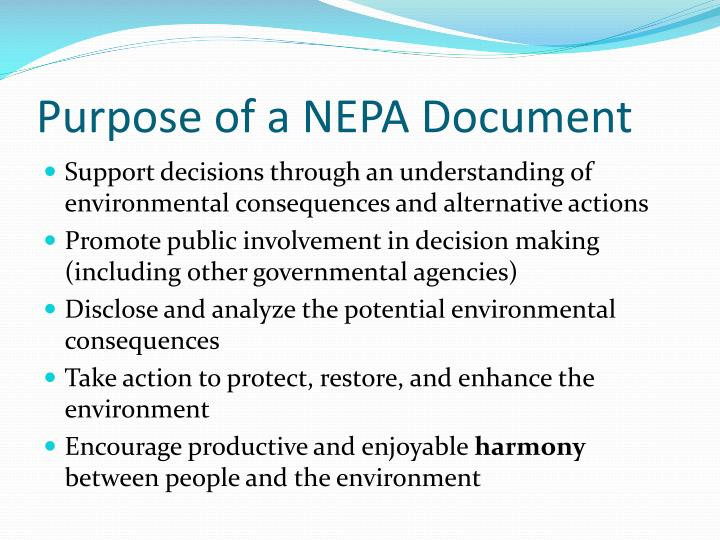 Purpose of a NEPA Document