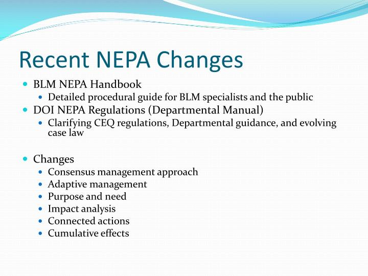 Recent NEPA Changes