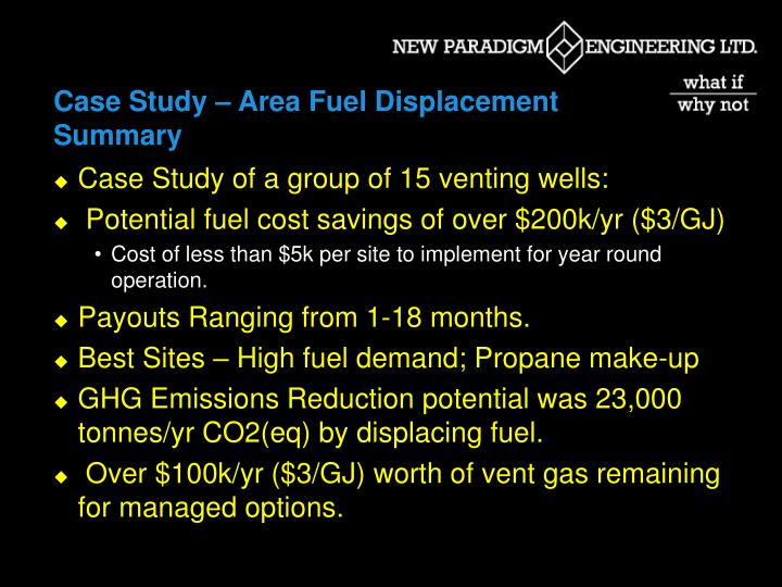 Case Study – Area Fuel Displacement Summary
