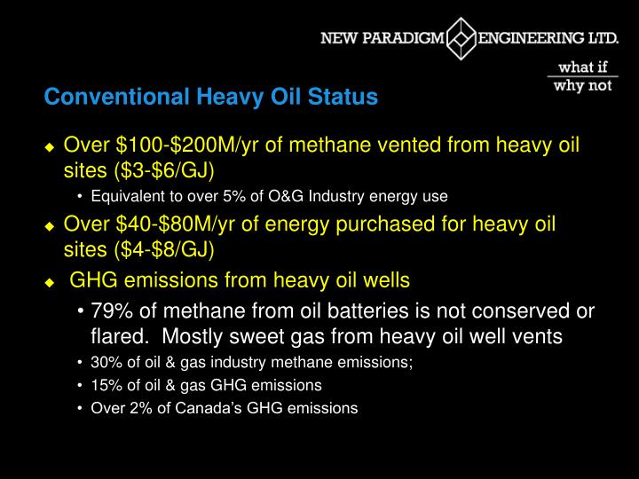 Conventional Heavy Oil Status