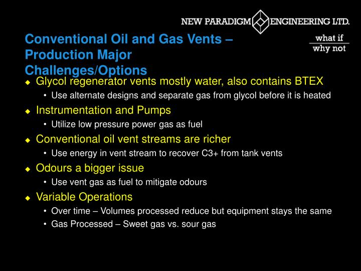 Conventional Oil and Gas Vents – Production Major Challenges/Options