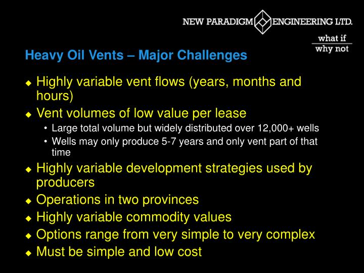 Heavy Oil Vents – Major Challenges