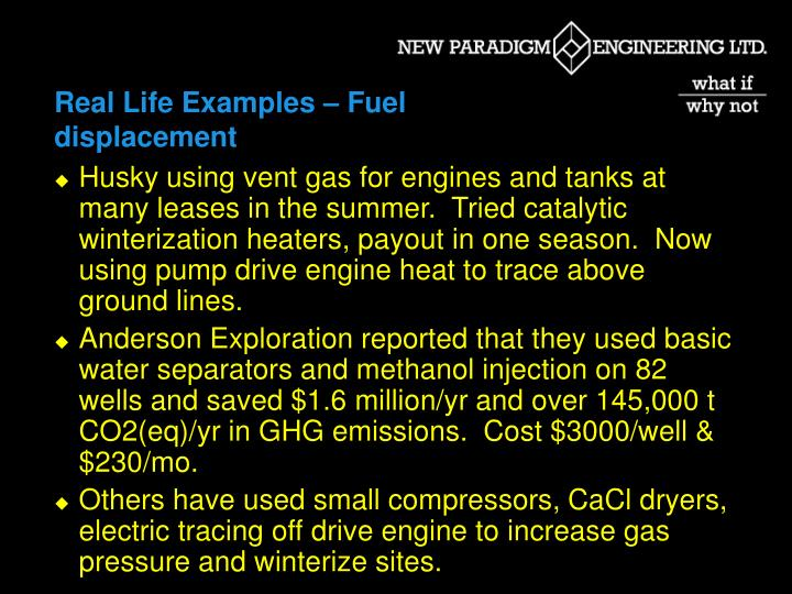 Real Life Examples – Fuel displacement