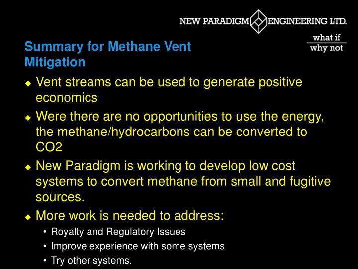 Summary for Methane Vent Mitigation