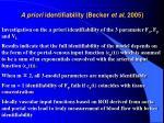 a priori identifiability becker et al 2005
