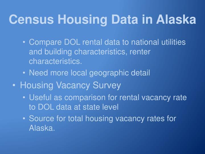Census Housing Data in Alaska