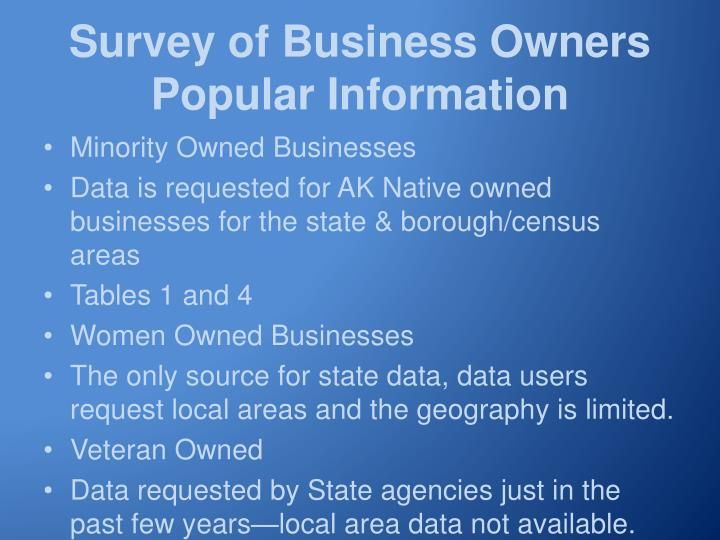 Survey of Business Owners Popular Information