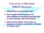 university of maryland midas research