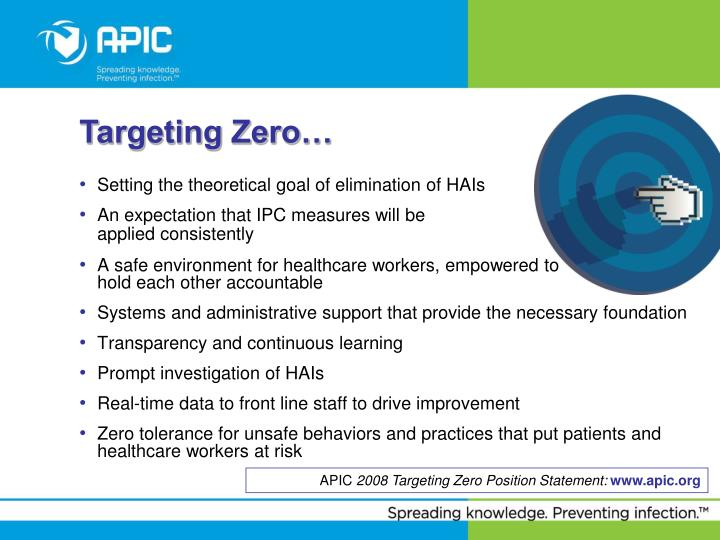 Setting the theoretical goal of elimination of HAIs
