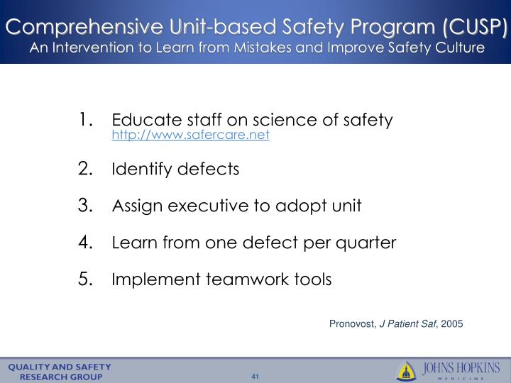 Comprehensive Unit-based Safety Program (CUSP)