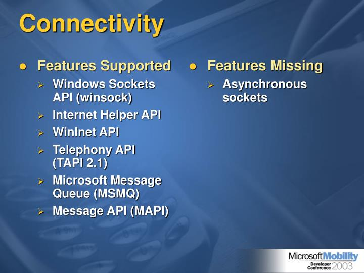 Features Supported