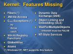 kernel features missing