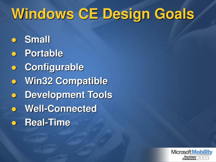 Windows CE Design Goals