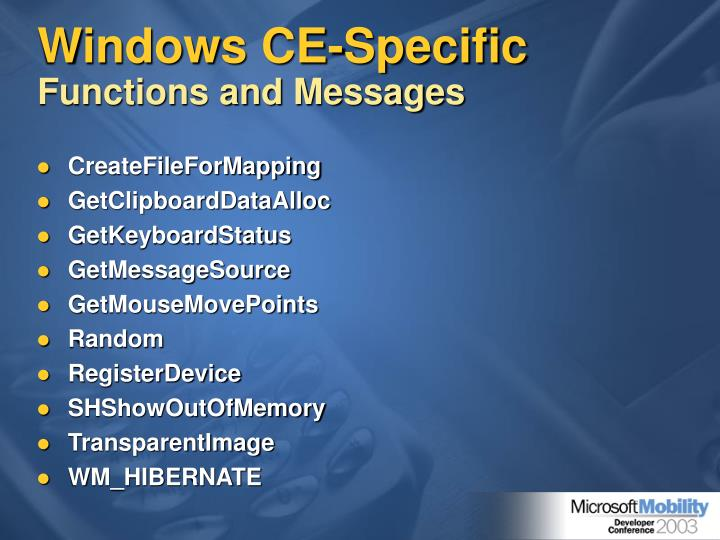 Windows CE-Specific
