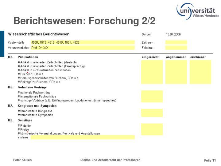 Berichtswesen: Forschung 2/2