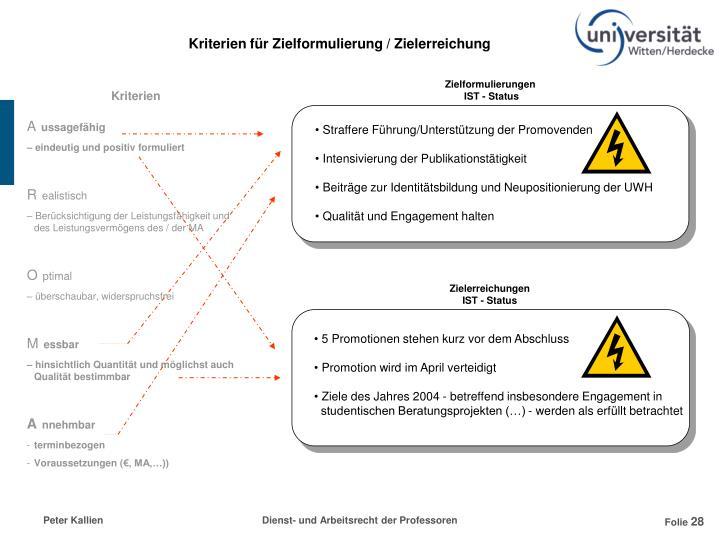Kriterien für Zielformulierung / Zielerreichung