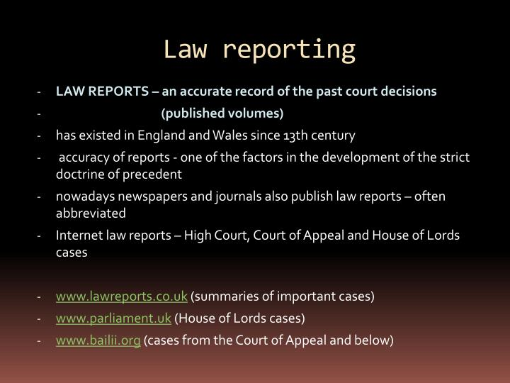 Law reporting